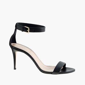 J.Crew Black Ankle-Strap High Heel Sandals